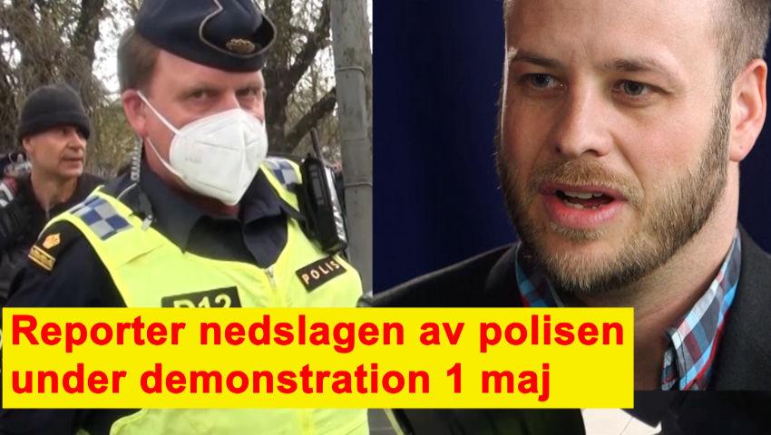 Intervju med Jesper Johansson - Reporter nedslagen av polisen under  demonstration 1 maj. - Swebbtv